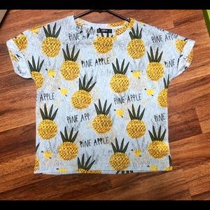Women's Box Crop Pineapple Top